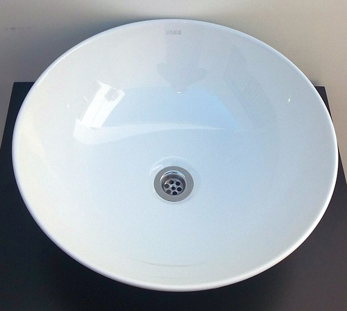 bacha redonda de loza blanca 39,5 x 15 apoyar porcelana