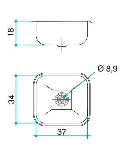 bacha simple cocina pileta johnson acero inox 304 e37/18 20l