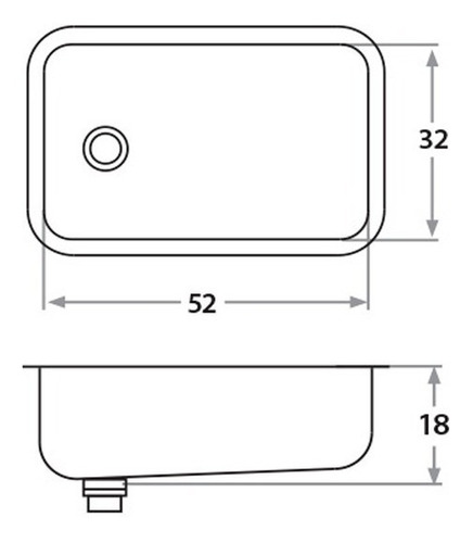 bacha simple de acero inoxidable mi pileta bajo mesada 103p bajo mesada mide 32 x 52 x 18 cm