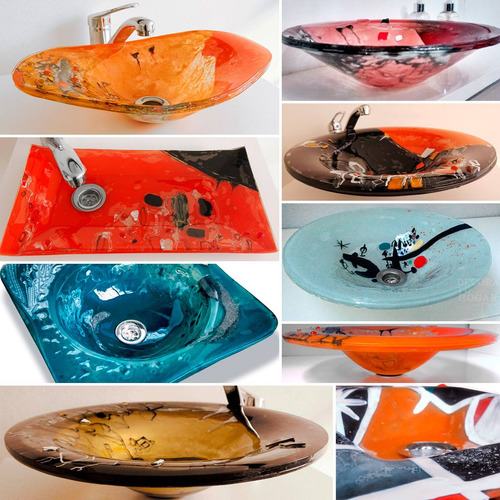 bachas de baño diseños unicos de apoyo vidrio a medida color