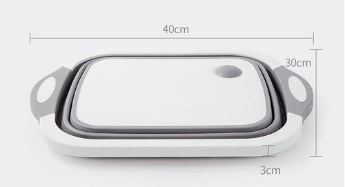 bacia retangular retrátil de silicone multifuncional cinza
