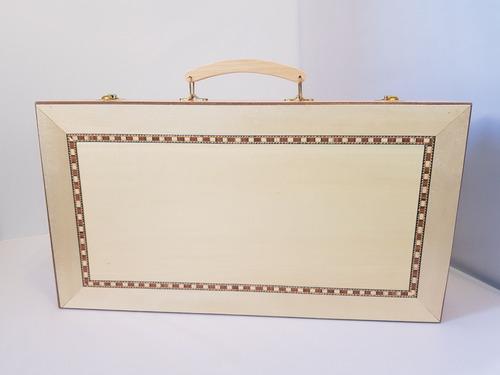 backgammon maletin tablero deluxe piezas de madera