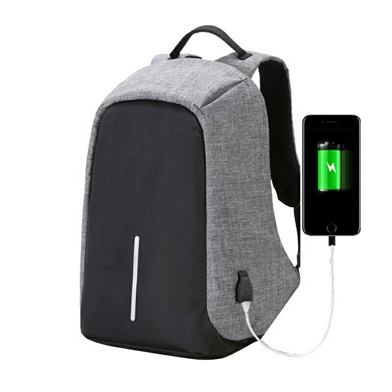 Backpack Mochila Antirobo Antitheft Usb Anti Robo Gris