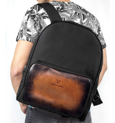 backpack negra brush café y nylon