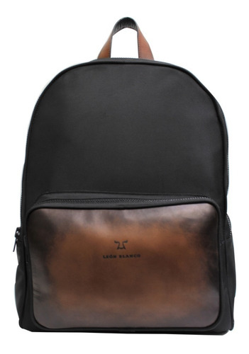 backpack negra brush café y nylon