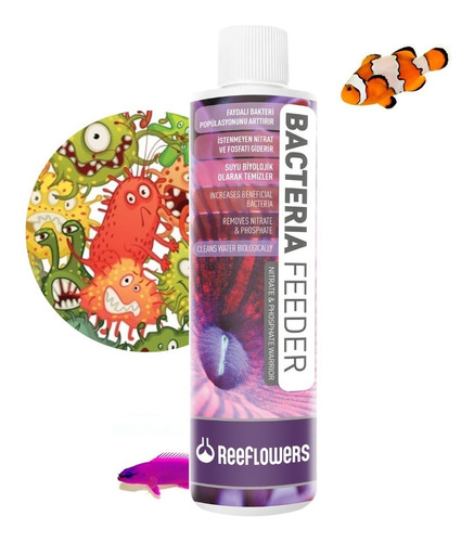 bacterias feeder 85ml reeflowers alimento reduz nitrato, po4