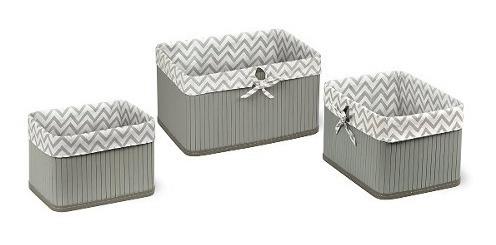 badger basket claremont three basket set, gray