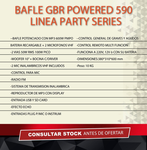 bafle 10 gbr powered 590 mp3 bluetooth usb sd bateria 2 mic