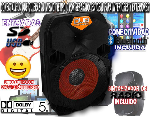bafle 15  activo dub by audiobahn con increibles regalos wow