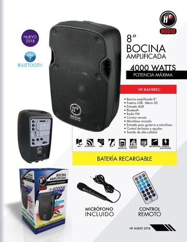 bafle 8 bocina amplificada bluetooth 4000 w recargable