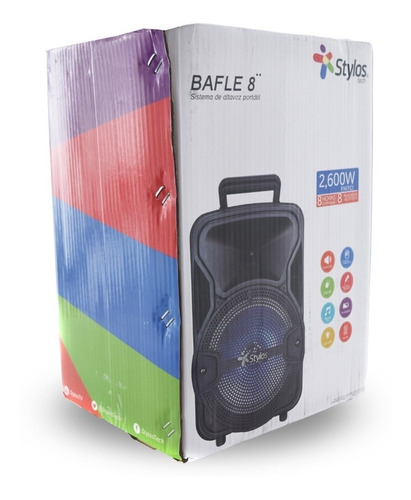 bafle amplificado 8 pulgadas profesional bluetooth stylos