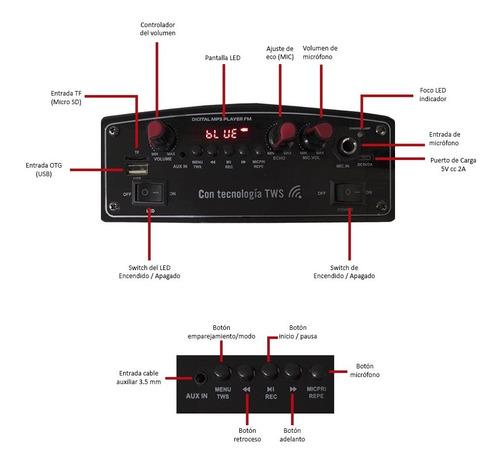 bafle amplificado 8 pulgadas select sound ninja con tws