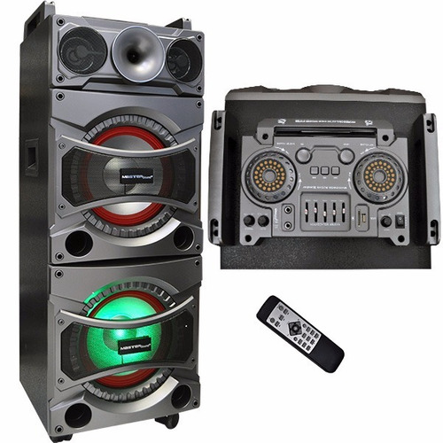 bafle amplificado vertical con doble woofer de 10, mp3, usb