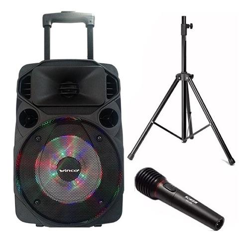 bafle parlante winco usb luces tripode + microfono karaoke