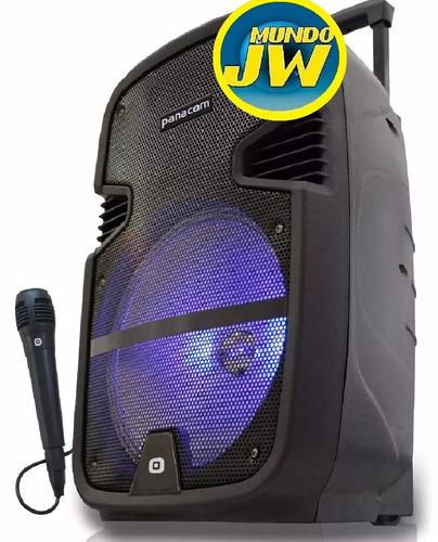 bafle portátil panacom sp 3110 led bluetooth usb mic karaoke