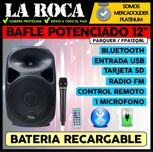bafle potenciado 12 600w bluetooth usb sd radio fm bateria