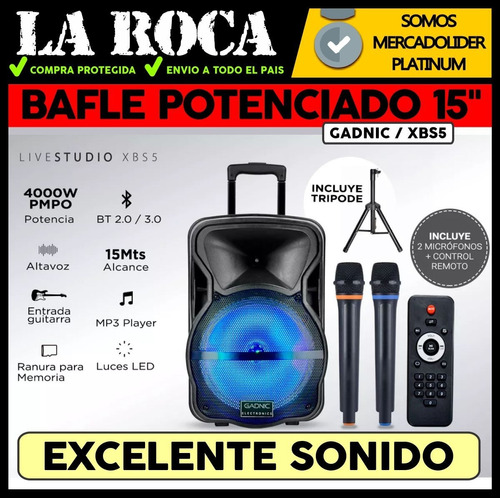 bafle potenciado 15 4000w bluetooth usb sd bateria luces led