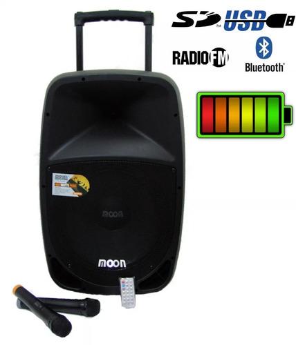 bafle potenciado moon batt15u 400w mp3 batería usb 2 mic