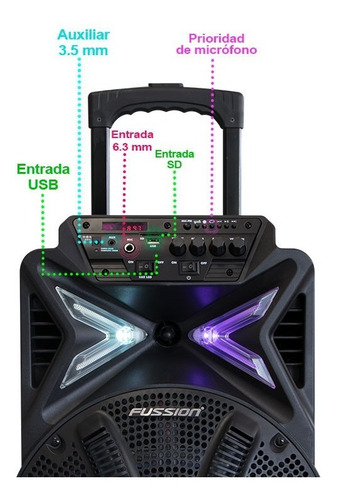 bafle recargable bluetooth bocina 12 fm mic luz led fussion