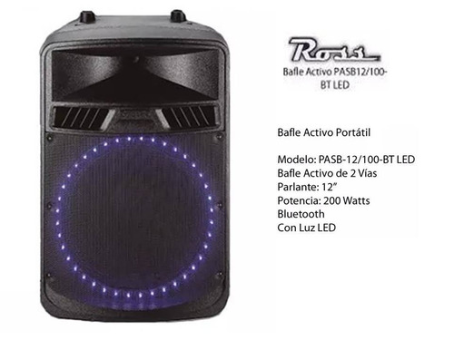 bafle ross pasb-12/100bt led bt activo 2 vias 200 watts