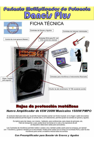 bafle usb potencia inc entradas para 2 microfonos pc mp3 dancis