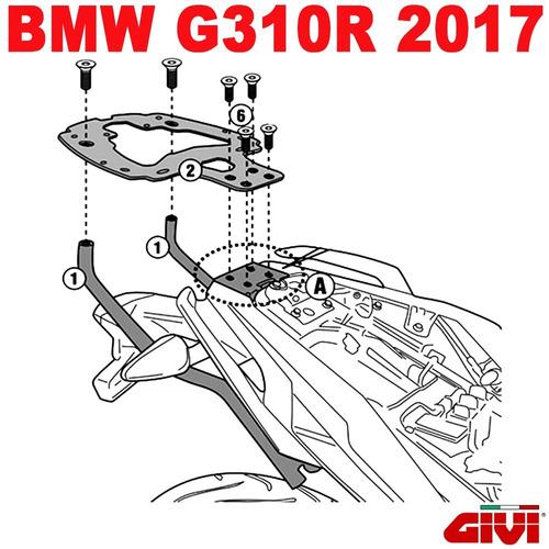 bagageiro suporte base bauleto givi sr5125 bmw g310r 2017/18