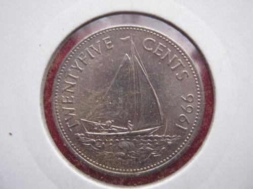 bahamas 25 cent 1966