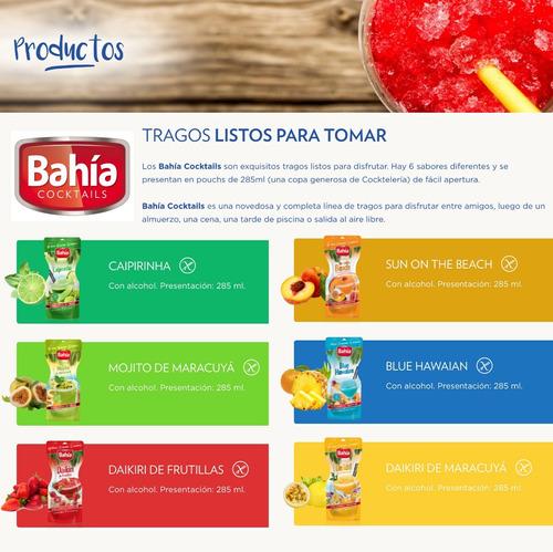 bahia 24 tragos listos daikiri ron frutas + fresita + envio