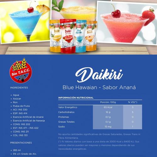 bahia 24 tragos listos daikiri ron frutas + vasos + envio