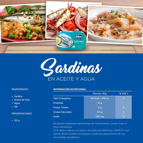 bahía 50 latas sardinas agua y aceite 125 grs + envio gratis