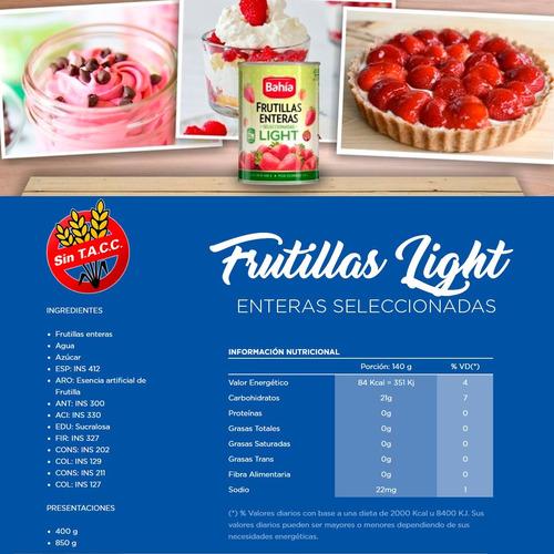 bahía caja 12 latas frutillas enteras 850 grs + envio gratis