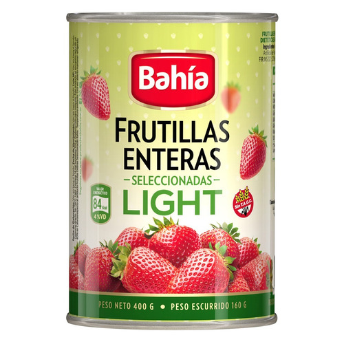 bahía caja 12 latas frutillas light 400 grs + envio gratis