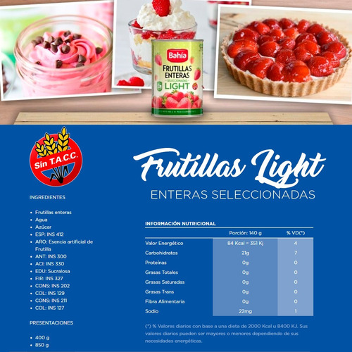 bahia set frutillas light arandanos enteros pulpas + regalos