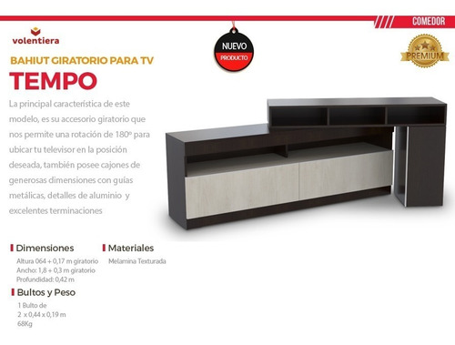 bahiut mesa tv rack lcd giratorio tempo color wengue