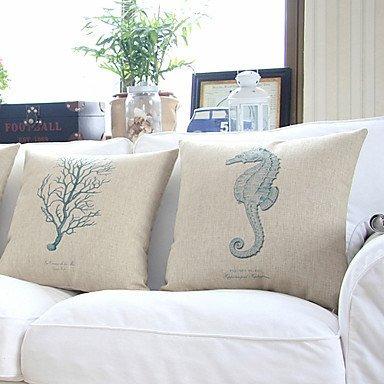 ?bailand?® set de 4 mar vida tema algodón/lino decorativos