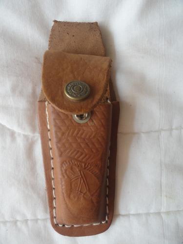 bainha artesanal couro pespontada cavalo canivete gravada