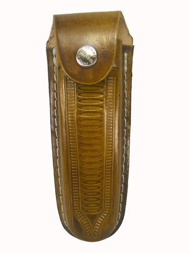 bainha para canivete churrasqueiro capa couro 14 cm interno