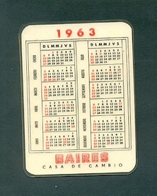 Calendario 1963.Baires Antiguo Calendario Bolsillo Ano 1963