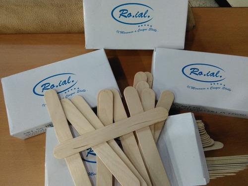 baja lengua paletas de madera depilar roial caja 100 uni