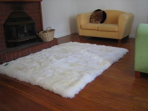 bajada de cama piel cuero de oveja cordero lanar, alfombras.