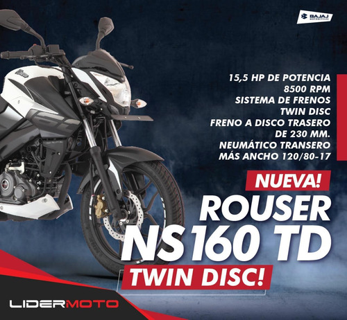 bajaj  rouser ns 160 exclusiva lidermoto