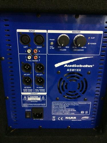 bajo amplificado 18pg audiobahn woofer asw18x