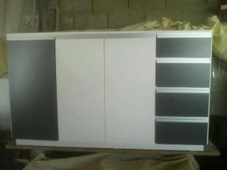 bajo  mesada blanco y grafito con perfil de aluminio