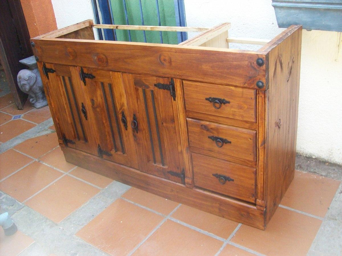 Bajo mesada cocina madera maciza en mercado for Como hacer herrajes rusticos