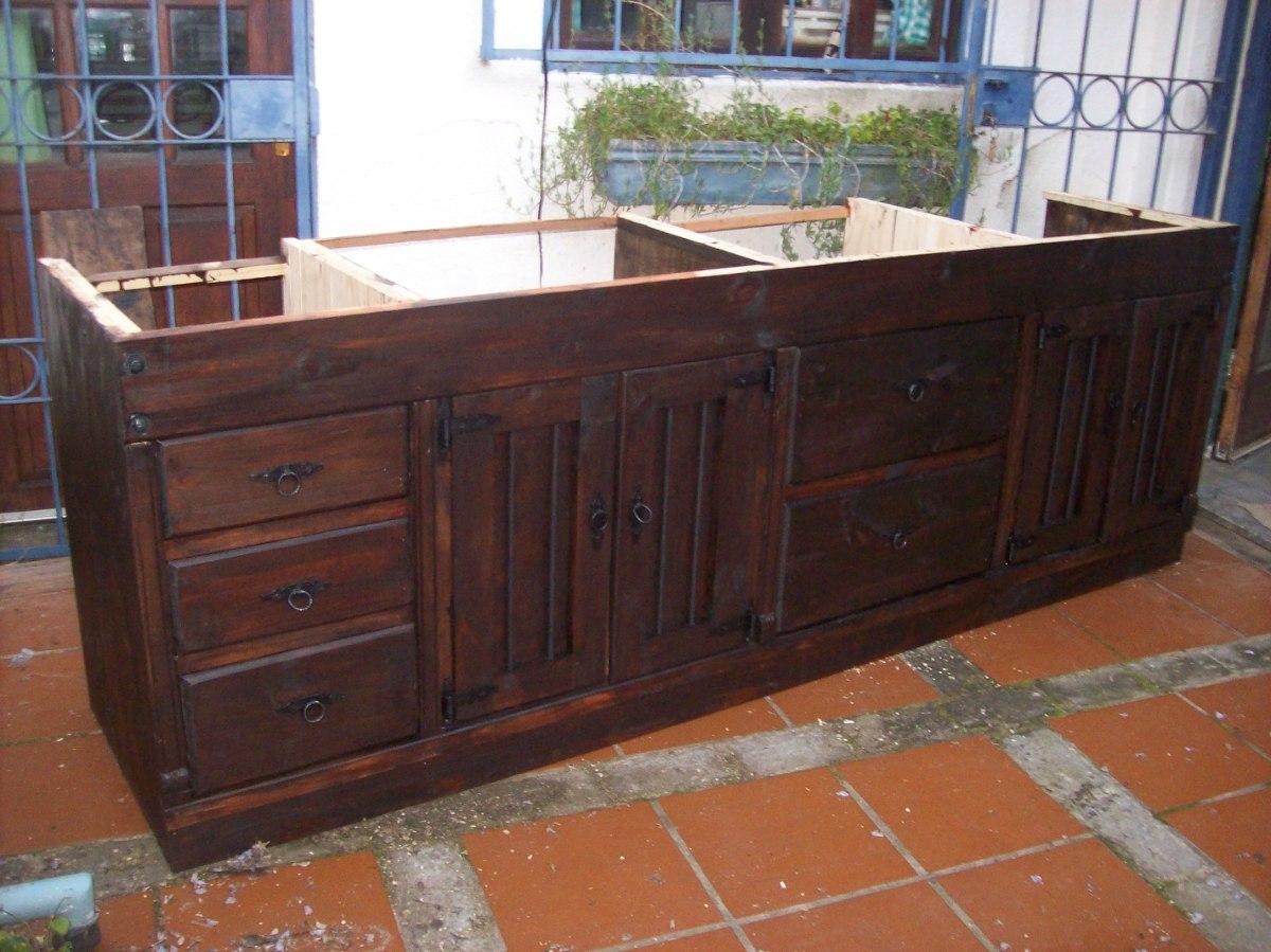 Bajo mesada cocina rustica madera maciza en - Mueble cocina rustico ...