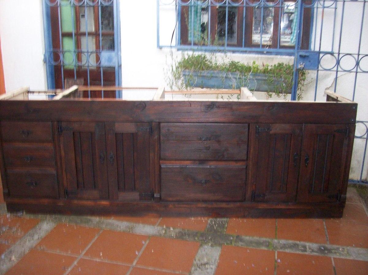 Bajo mesada cocina rustica madera maciza en for Como hacer herrajes rusticos