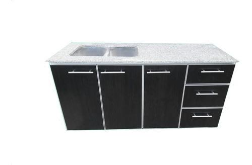 bajo mesada de 1.90m c/marmol c/ perf de aluminio