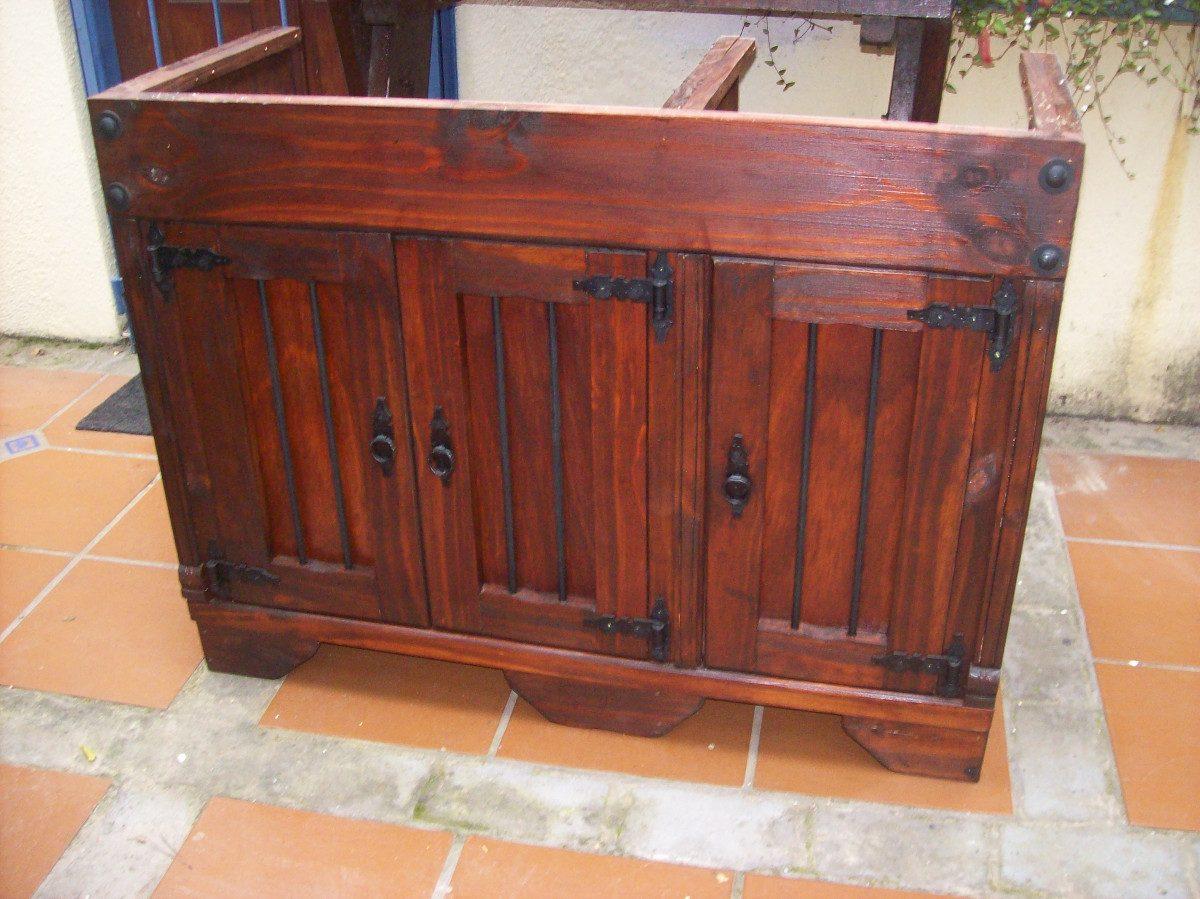 Bajo mesada de cocina madera maciza c hierro for Mesada de madera para cocina