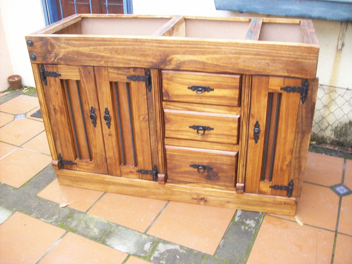 Bajo mesada de cocina rustica artesanal en for Como hacer herrajes rusticos