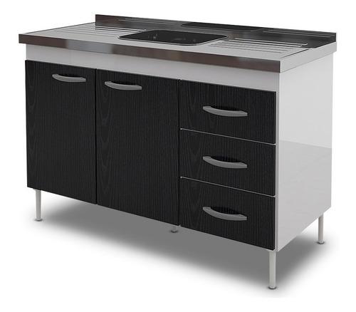 bajo mesada delos mueble cocina 120cm 2 p 3 ca